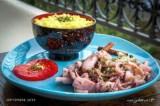 Calamars en persillade et riz au curcuma